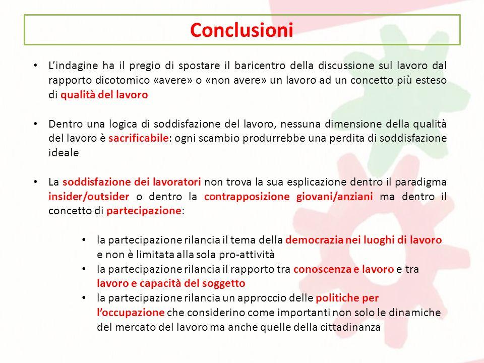 Conclusioni Lindagine ha il pregio di spostare il baricentro della discussione sul lavoro dal rapporto dicotomico «avere» o «non avere» un lavoro ad u