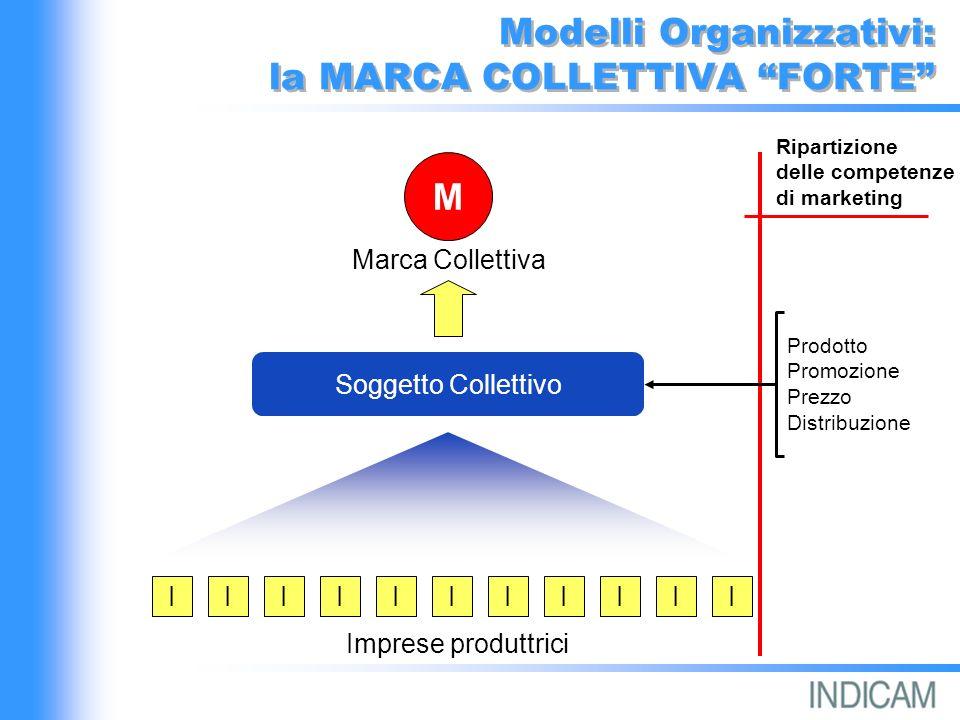 Modelli Organizzativi: la MARCA COLLETTIVA FORTE IIIIIIIIIII Imprese produttrici Soggetto Collettivo M Prodotto Promozione Prezzo Distribuzione Ripartizione delle competenze di marketing Marca Collettiva