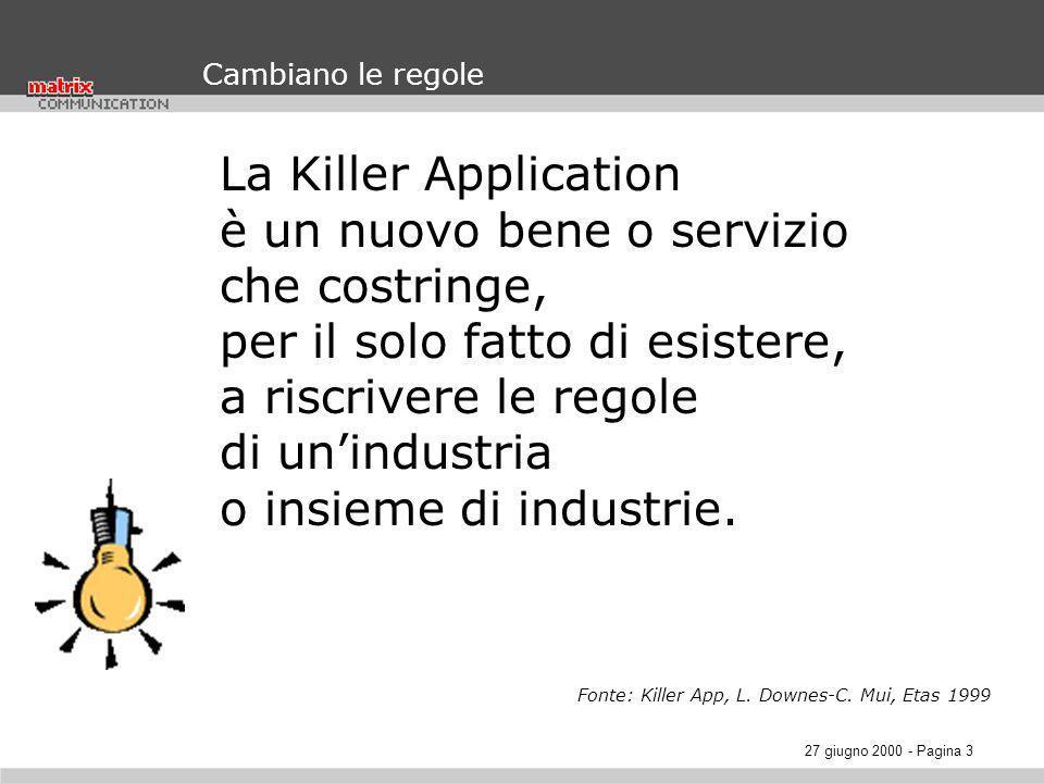 27 giugno 2000 - Pagina 3 Cambiano le regole La Killer Application è un nuovo bene o servizio che costringe, per il solo fatto di esistere, a riscrivere le regole di unindustria o insieme di industrie.