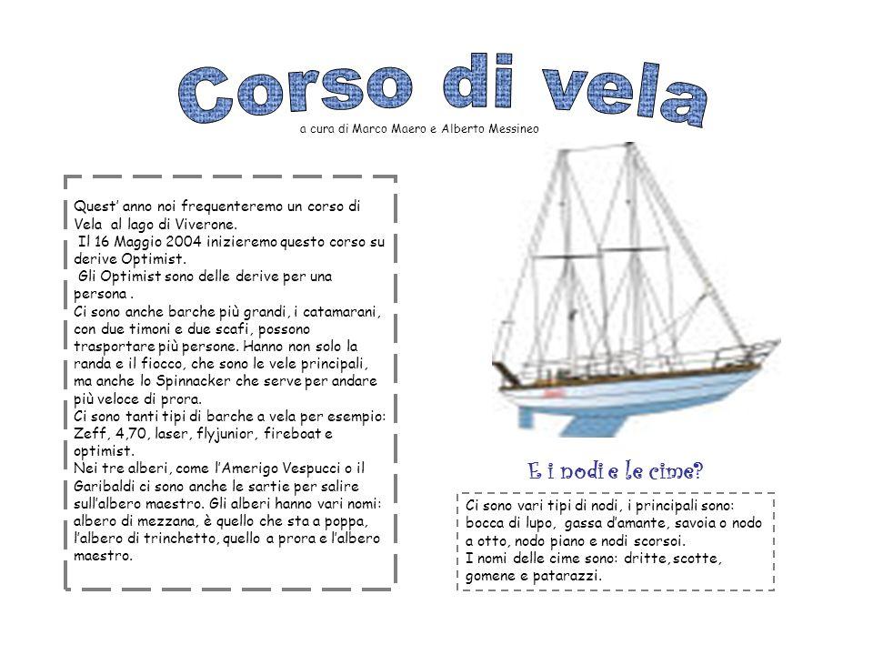 Quest anno noi frequenteremo un corso di Vela al lago di Viverone. Il 16 Maggio 2004 inizieremo questo corso su derive Optimist. Gli Optimist sono del