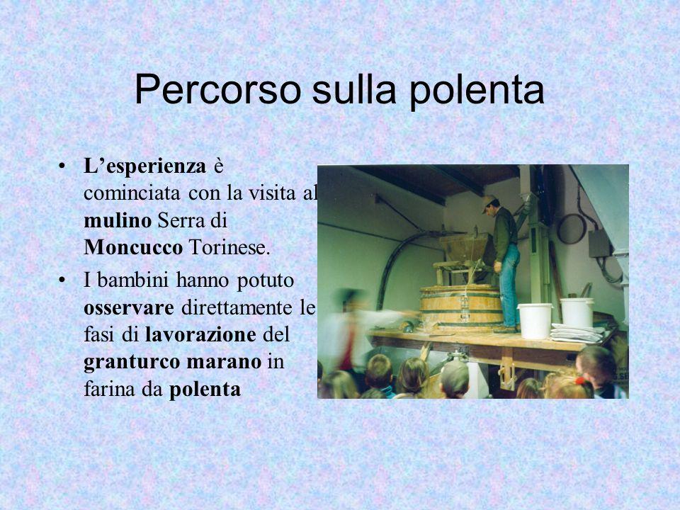 Percorso sulla polenta Lesperienza è cominciata con la visita al mulino Serra di Moncucco Torinese. I bambini hanno potuto osservare direttamente le f
