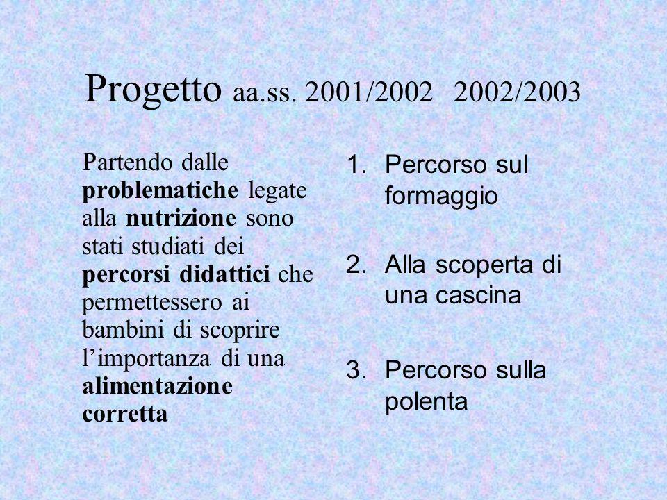 Progetto aa.ss. 2001/2002 2002/2003 Partendo dalle problematiche legate alla nutrizione sono stati studiati dei percorsi didattici che permettessero a