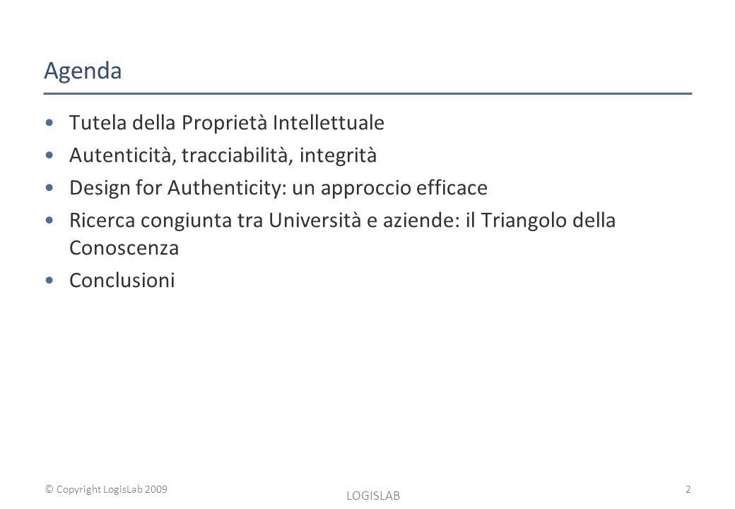 © Copyright LogisLab 2009 Agenda Tutela della Proprietà Intellettuale Autenticità, tracciabilità, integrità Design for Authenticity: un approccio efficace Ricerca congiunta tra Università e aziende: il Triangolo della Conoscenza Conclusioni LOGISLAB 2