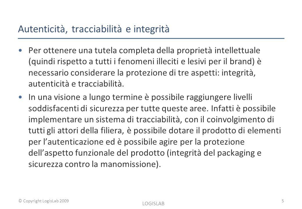 © Copyright LogisLab 2009 Autenticità, tracciabilità e integrità Per ottenere una tutela completa della proprietà intellettuale (quindi rispetto a tutti i fenomeni illeciti e lesivi per il brand) è necessario considerare la protezione di tre aspetti: integrità, autenticità e tracciabilità.