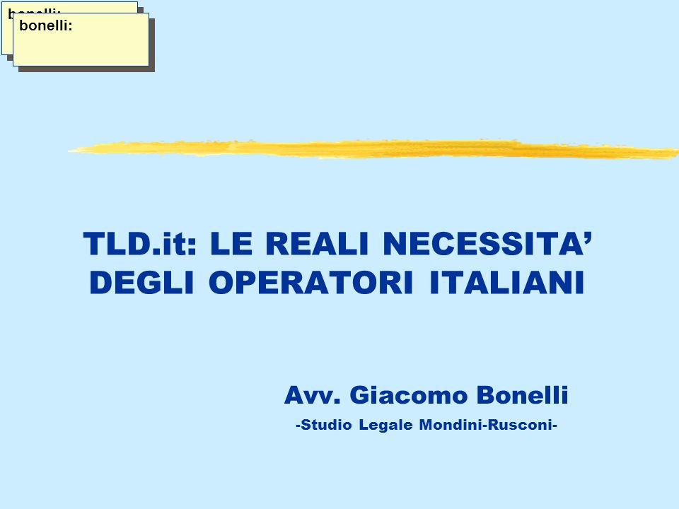 TLD.it: LE REALI NECESSITA DEGLI OPERATORI ITALIANI Avv.
