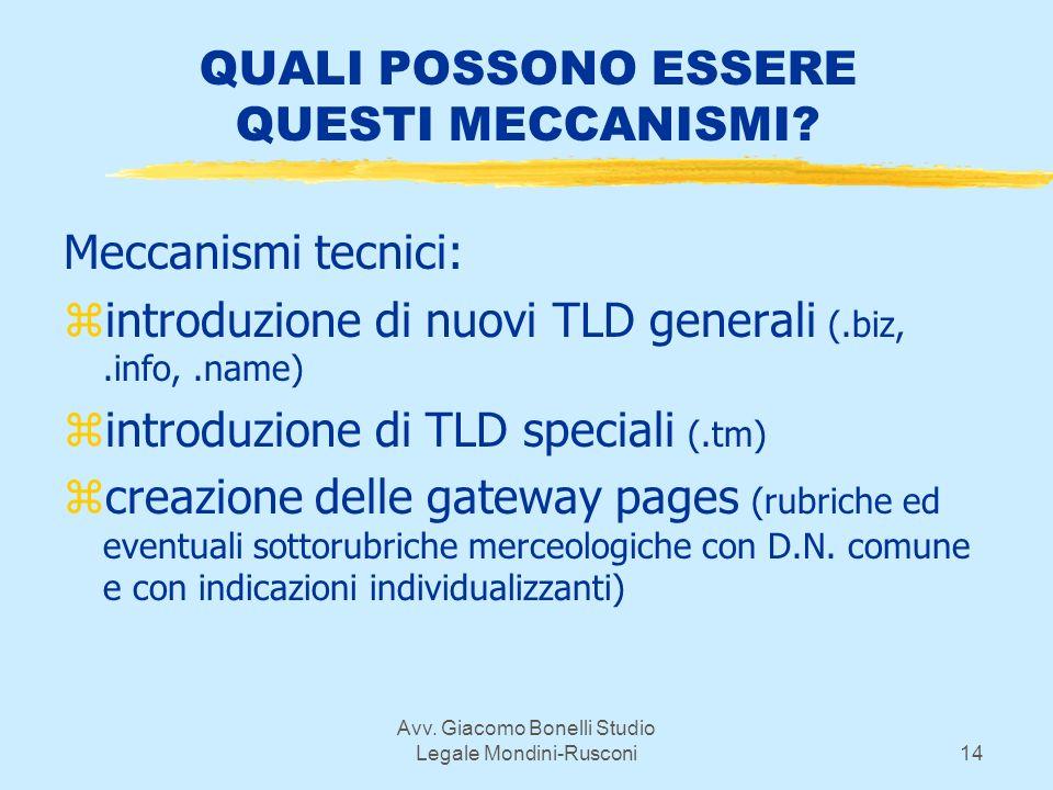 Avv. Giacomo Bonelli Studio Legale Mondini-Rusconi14 QUALI POSSONO ESSERE QUESTI MECCANISMI.