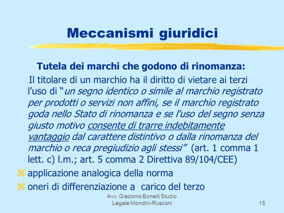 Avv. Giacomo Bonelli Studio Legale Mondini-Rusconi15 Meccanismi giuridici Tutela dei marchi che godono di rinomanza: Il titolare di un marchio ha il d