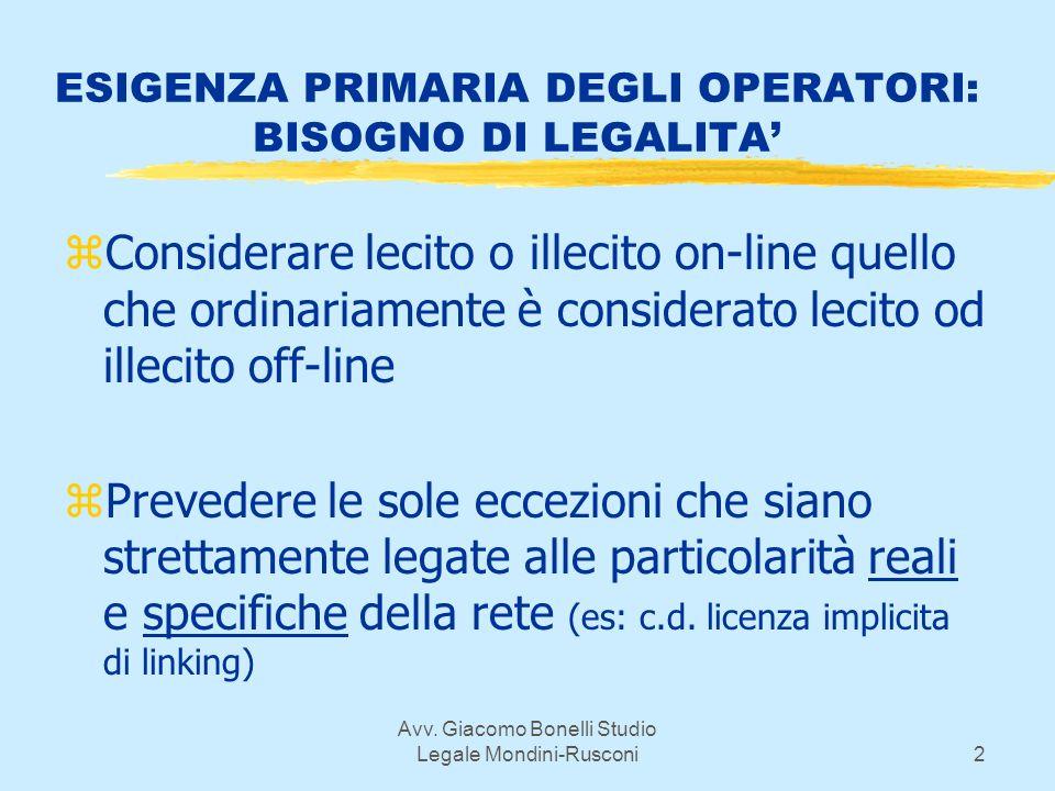 Avv. Giacomo Bonelli Studio Legale Mondini-Rusconi2 ESIGENZA PRIMARIA DEGLI OPERATORI: BISOGNO DI LEGALITA zConsiderare lecito o illecito on-line quel