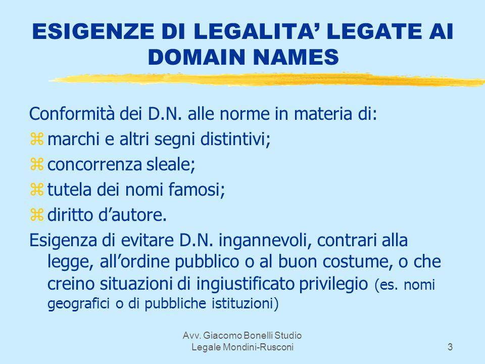 Avv. Giacomo Bonelli Studio Legale Mondini-Rusconi3 ESIGENZE DI LEGALITA LEGATE AI DOMAIN NAMES Conformità dei D.N. alle norme in materia di: zmarchi