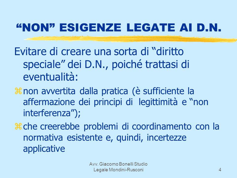 Avv. Giacomo Bonelli Studio Legale Mondini-Rusconi4 NON ESIGENZE LEGATE AI D.N.