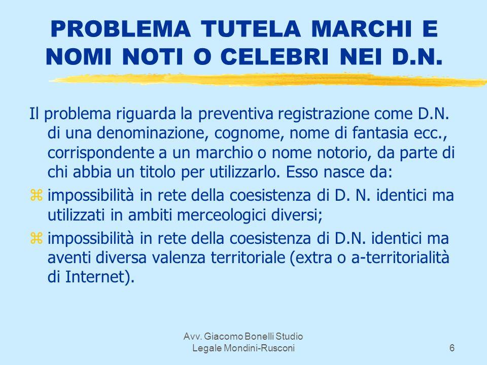 Avv. Giacomo Bonelli Studio Legale Mondini-Rusconi6 PROBLEMA TUTELA MARCHI E NOMI NOTI O CELEBRI NEI D.N. Il problema riguarda la preventiva registraz
