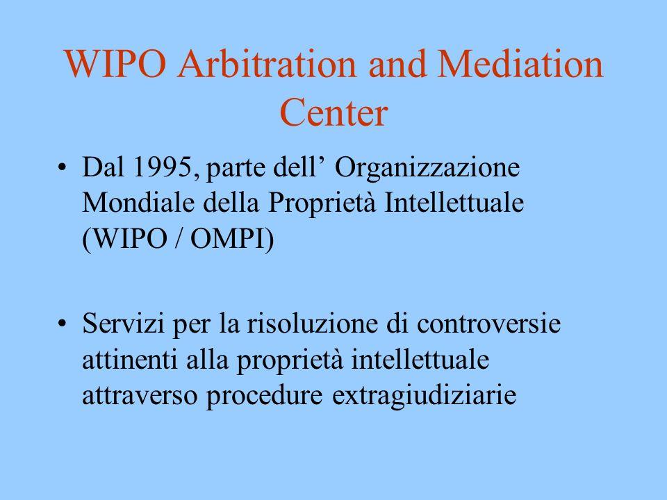 WIPO Arbitration and Mediation Center: Servizi Norme e clausole contrattuali per controversie di proprietà intellettuale –Arbitrato (tradizionale e expedited) –Mediazione Lista di arbitri e mediatori Amministrazione di casi Servizi speciali di risoluzione di controversie –nomi di dominio
