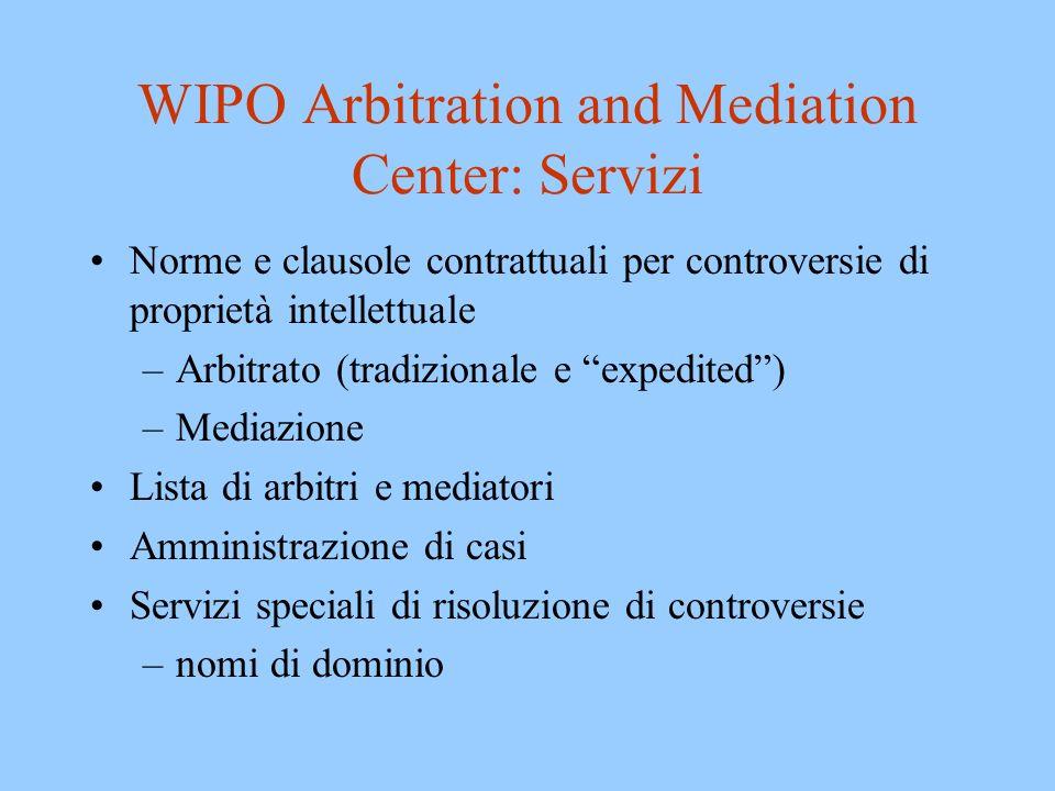 WIPO Arbitration and Mediation Center -- Obiettivi Efficienza della procedura Qualità e coerenza delle decisioni