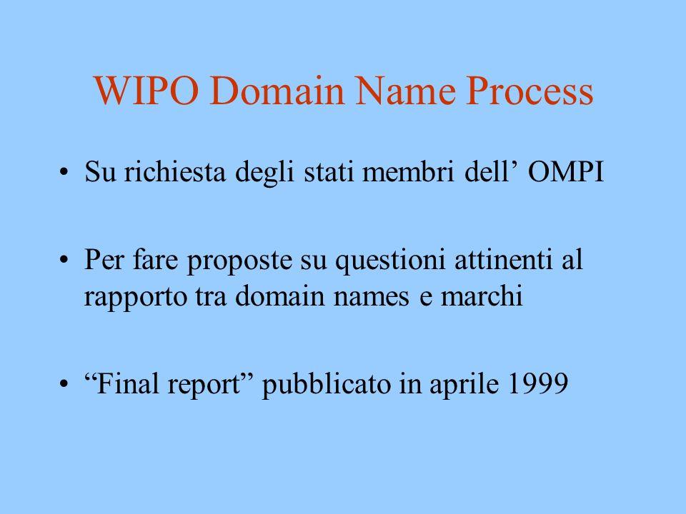 Uniform Domain Name Dispute Resolution Policy Approvata da ICANN nel 1999 Applicata a –.com,.net,.org,.info,.biz, etc.