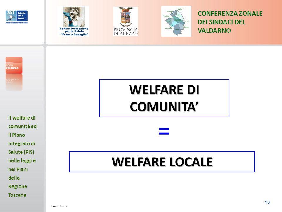 13 CONFERENZA ZONALE DEI SINDACI DEL VALDARNO Il welfare di comunità ed il Piano Integrato di Salute (PIS) nelle leggi e nei Piani della Regione Toscana Laura Brizzi WELFARE DI COMUNITA WELFARE LOCALE =