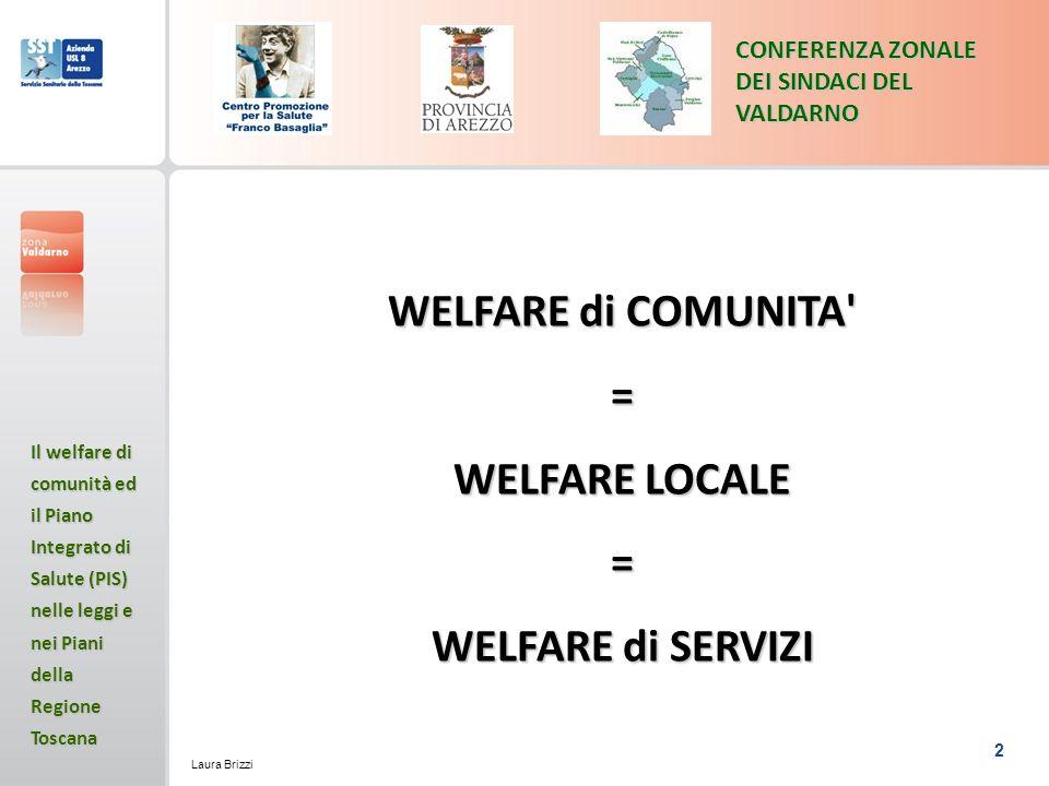 2 CONFERENZA ZONALE DEI SINDACI DEL VALDARNO Il welfare di comunità ed il Piano Integrato di Salute (PIS) nelle leggi e nei Piani della Regione Toscana Laura Brizzi WELFARE di COMUNITA = WELFARE LOCALE = WELFARE di SERVIZI