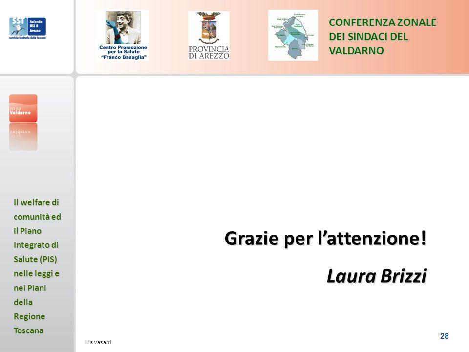 28 CONFERENZA ZONALE DEI SINDACI DEL VALDARNO Il welfare di comunità ed il Piano Integrato di Salute (PIS) nelle leggi e nei Piani della Regione Toscana Lia Vasarri Grazie per lattenzione.