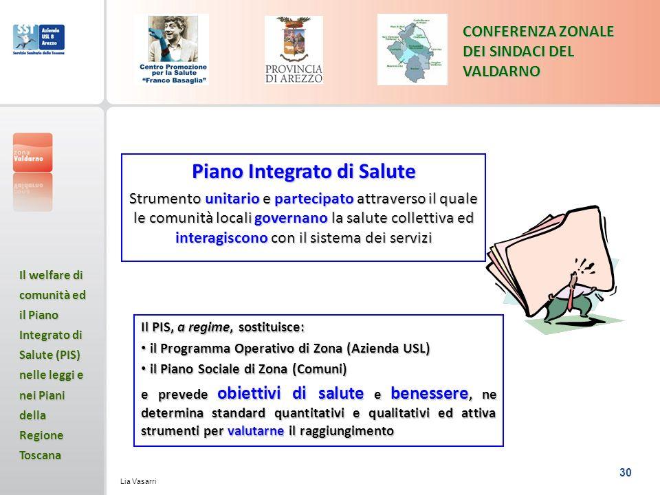30 CONFERENZA ZONALE DEI SINDACI DEL VALDARNO Il welfare di comunità ed il Piano Integrato di Salute (PIS) nelle leggi e nei Piani della Regione Toscana Lia Vasarri Piano Integrato di Salute Strumento unitario e partecipato attraverso il quale le comunità locali governano la salute collettiva ed interagiscono con il sistema dei servizi Il PIS, a regime, sostituisce: il Programma Operativo di Zona (Azienda USL) il Programma Operativo di Zona (Azienda USL) il Piano Sociale di Zona (Comuni) il Piano Sociale di Zona (Comuni) e prevede obiettivi di salute e benessere, ne determina standard quantitativi e qualitativi ed attiva strumenti per valutarne il raggiungimento