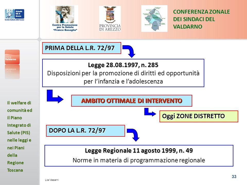 33 CONFERENZA ZONALE DEI SINDACI DEL VALDARNO Il welfare di comunità ed il Piano Integrato di Salute (PIS) nelle leggi e nei Piani della Regione Toscana Lia Vasarri Legge Regionale 11 agosto 1999, n.