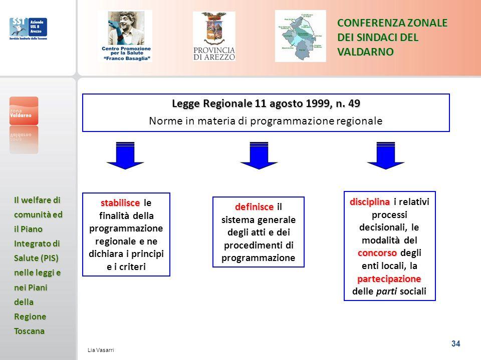 34 CONFERENZA ZONALE DEI SINDACI DEL VALDARNO Il welfare di comunità ed il Piano Integrato di Salute (PIS) nelle leggi e nei Piani della Regione Toscana Lia Vasarri stabilisce stabilisce le finalità della programmazione regionale e ne dichiara i principi e i criteri Legge Regionale 11 agosto 1999, n.