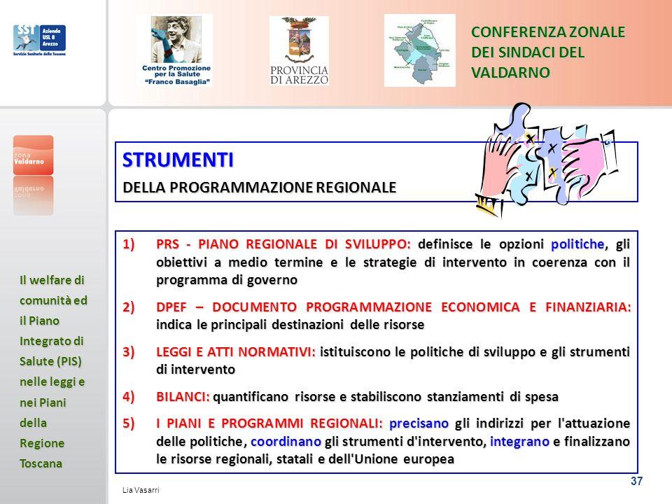 37 CONFERENZA ZONALE DEI SINDACI DEL VALDARNO Il welfare di comunità ed il Piano Integrato di Salute (PIS) nelle leggi e nei Piani della Regione Toscana Lia Vasarri STRUMENTI DELLA PROGRAMMAZIONE REGIONALE 1)PRS - PIANO REGIONALE DI SVILUPPO: definisce le opzioni politiche, gli obiettivi a medio termine e le strategie di intervento in coerenza con il programma di governo 2)DPEF – DOCUMENTO PROGRAMMAZIONE ECONOMICA E FINANZIARIA: indica le principali destinazioni delle risorse 3)LEGGI E ATTI NORMATIVI: istituiscono le politiche di sviluppo e gli strumenti di intervento 4)BILANCI: quantificano risorse e stabiliscono stanziamenti di spesa 5)I PIANI E PROGRAMMI REGIONALI: precisano gli indirizzi per l attuazione delle politiche, coordinano gli strumenti d intervento, integrano e finalizzano le risorse regionali, statali e dell Unione europea