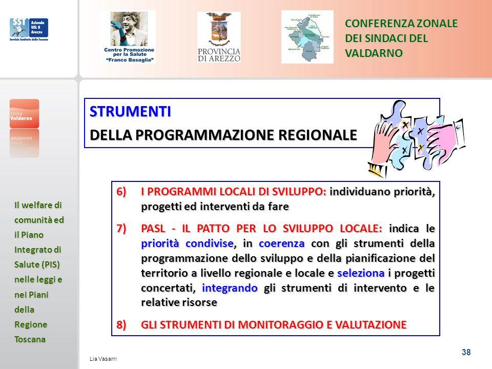 38 CONFERENZA ZONALE DEI SINDACI DEL VALDARNO Il welfare di comunità ed il Piano Integrato di Salute (PIS) nelle leggi e nei Piani della Regione Toscana Lia Vasarri STRUMENTI DELLA PROGRAMMAZIONE REGIONALE 6)I PROGRAMMI LOCALI DI SVILUPPO: individuano priorità, progetti ed interventi da fare 7)PASL - IL PATTO PER LO SVILUPPO LOCALE: indica le priorità condivise, in coerenza con gli strumenti della programmazione dello sviluppo e della pianificazione del territorio a livello regionale e locale e seleziona i progetti concertati, integrando gli strumenti di intervento e le relative risorse 8)GLI STRUMENTI DI MONITORAGGIO E VALUTAZIONE