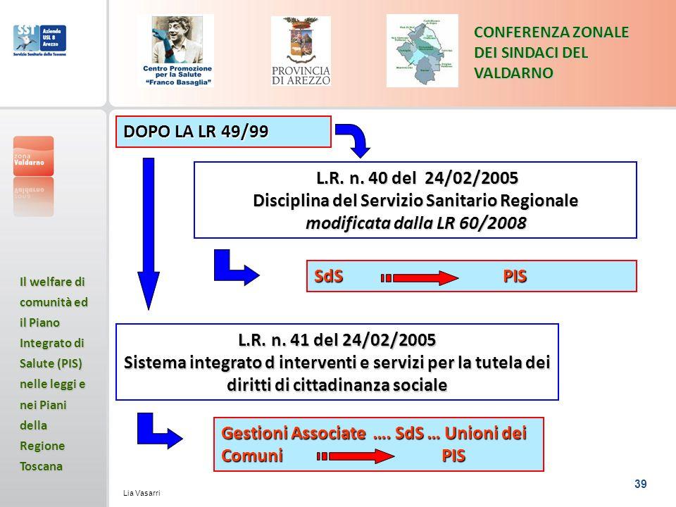 39 CONFERENZA ZONALE DEI SINDACI DEL VALDARNO Il welfare di comunità ed il Piano Integrato di Salute (PIS) nelle leggi e nei Piani della Regione Toscana Lia Vasarri L.R.