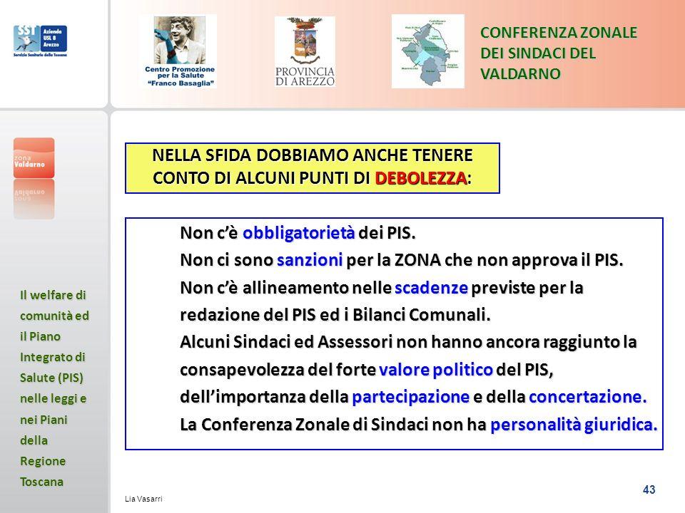 43 CONFERENZA ZONALE DEI SINDACI DEL VALDARNO Il welfare di comunità ed il Piano Integrato di Salute (PIS) nelle leggi e nei Piani della Regione Toscana Lia Vasarri NELLA SFIDA DOBBIAMO ANCHE TENERE CONTO DI ALCUNI PUNTI DI DEBOLEZZA: Non cè obbligatorietà dei PIS.