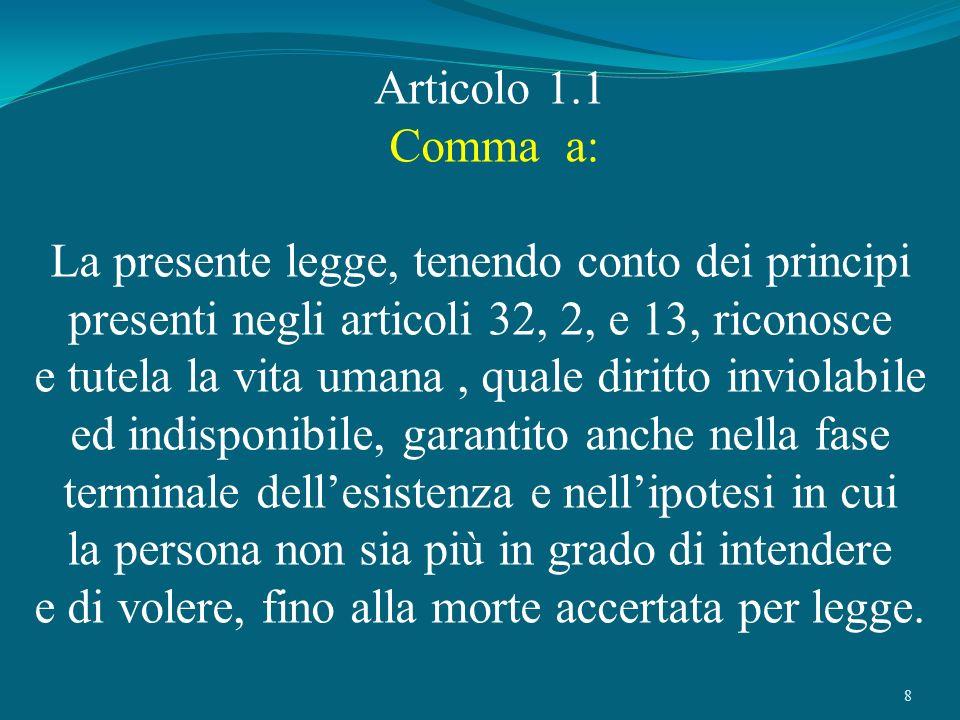 8 Articolo 1.1 Comma a: La presente legge, tenendo conto dei principi presenti negli articoli 32, 2, e 13, riconosce e tutela la vita umana, quale dir