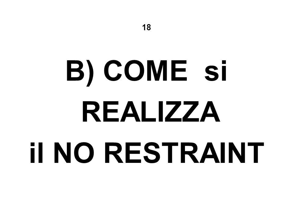 18 B) COME si REALIZZA il NO RESTRAINT