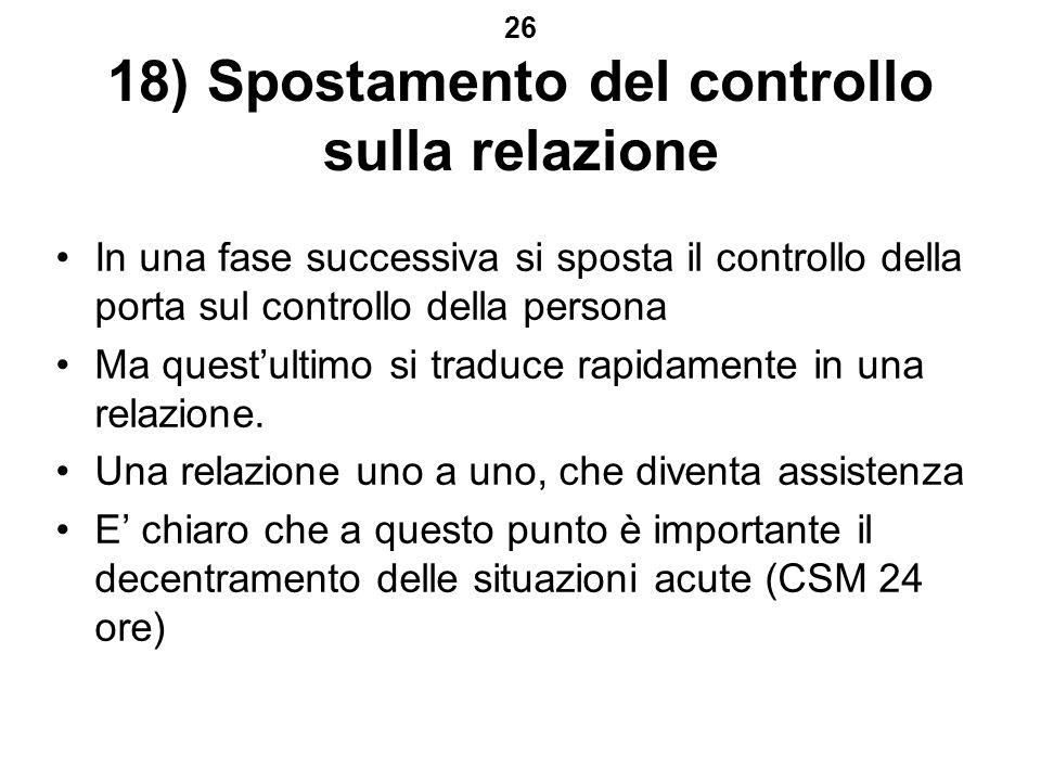 26 18) Spostamento del controllo sulla relazione In una fase successiva si sposta il controllo della porta sul controllo della persona Ma questultimo si traduce rapidamente in una relazione.