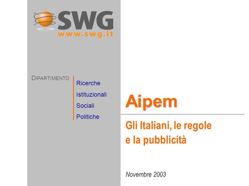Novembre 2003 Aipem Gli Italiani, le regole e la pubblicità D IPARTIMENTO Ricerche Istituzionali Sociali Politiche