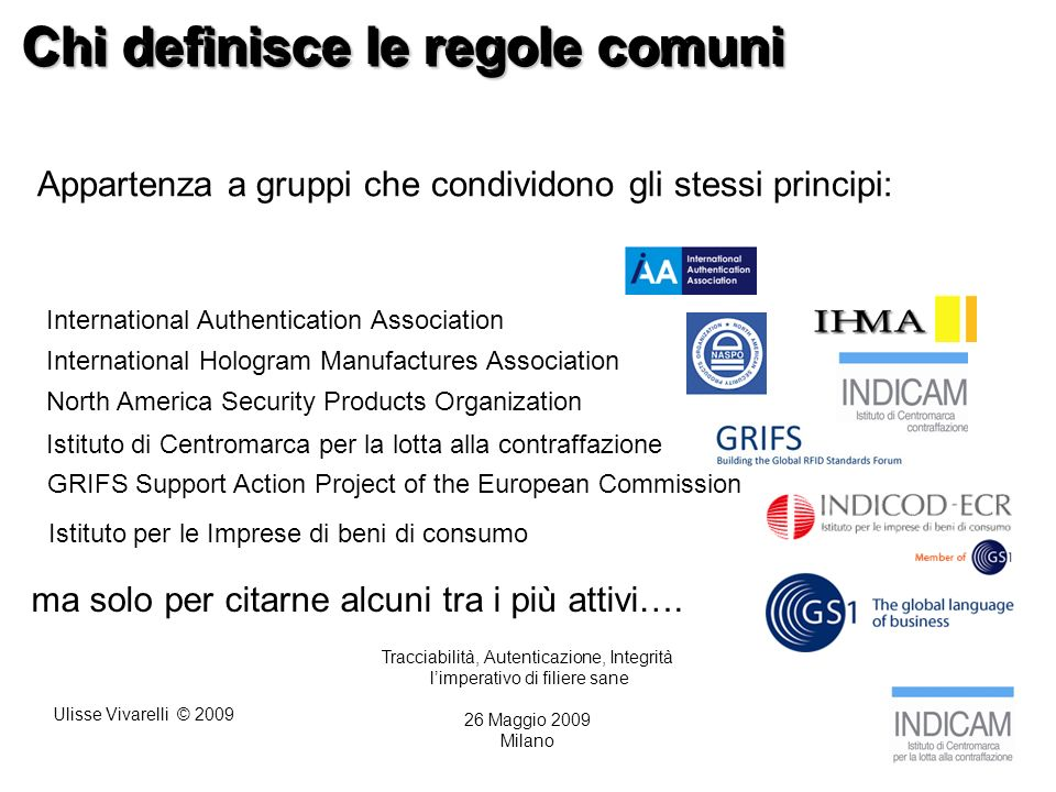 Ulisse Vivarelli © 2009 Chi definisce le regole comuni Tracciabilità, Autenticazione, Integrità limperativo di filiere sane 26 Maggio 2009 Milano Appartenza a gruppi che condividono gli stessi principi: International Authentication Association North America Security Products Organization International Hologram Manufactures Association Istituto di Centromarca per la lotta alla contraffazione ma solo per citarne alcuni tra i più attivi….