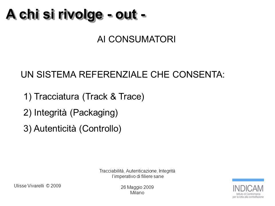 Ulisse Vivarelli © 2009 A chi si rivolge - out - AI CONSUMATORI UN SISTEMA REFERENZIALE CHE CONSENTA: 1) Tracciatura (Track & Trace) 2) Integrità (Packaging) 3) Autenticità (Controllo) Tracciabilità, Autenticazione, Integrità limperativo di filiere sane 26 Maggio 2009 Milano