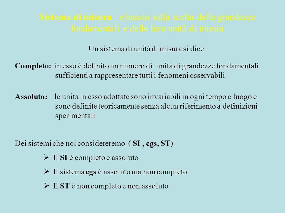 Un sistema di unità di misura si dice Completo: in esso è definito un numero di unità di grandezze fondamentali sufficienti a rappresentare tutti i fe