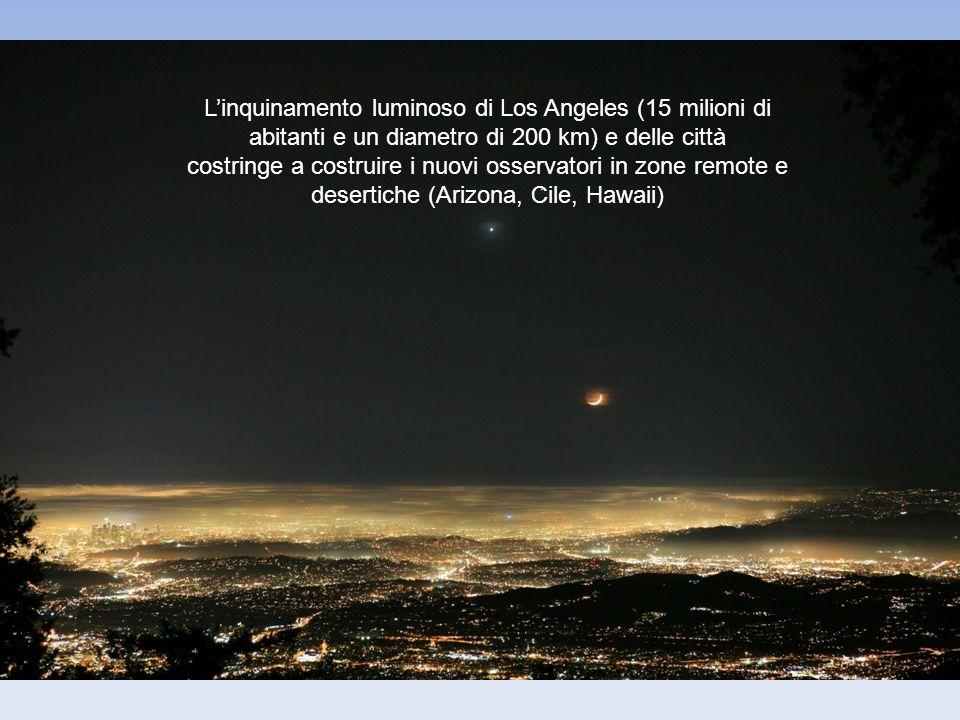 Linquinamento luminoso di Los Angeles (15 milioni di abitanti e un diametro di 200 km) e delle città costringe a costruire i nuovi osservatori in zone