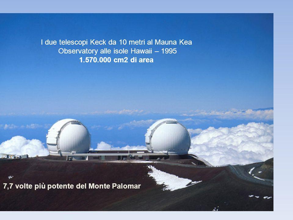 I due telescopi Keck da 10 metri al Mauna Kea Observatory alle isole Hawaii – 1995 1.570.000 cm2 di area 7,7 volte più potente del Monte Palomar