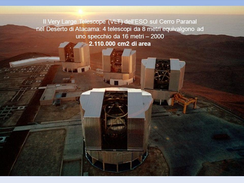 Il Very Large Telescope (VLT) dellESO sul Cerro Paranal nel Deserto di Atacama: 4 telescopi da 8 metri equivalgono ad uno specchio da 16 metri – 2000