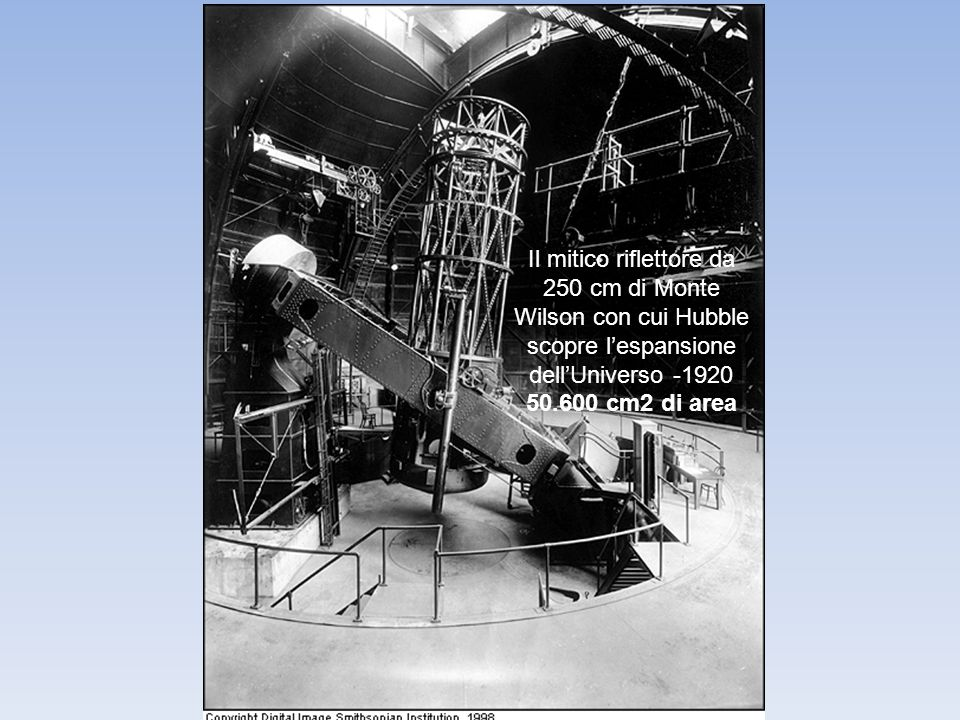 Il mitico riflettore da 250 cm di Monte Wilson con cui Hubble scopre lespansione dellUniverso -1920 50.600 cm2 di area