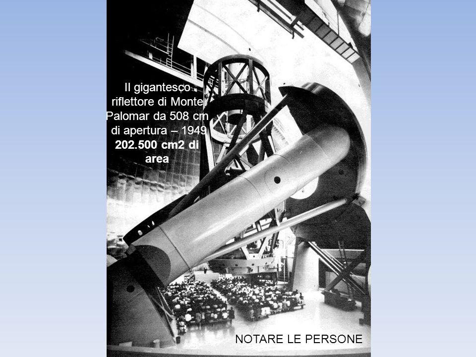 Il gigantesco riflettore di Monte Palomar da 508 cm di apertura – 1949 202.500 cm2 di area NOTARE LE PERSONE
