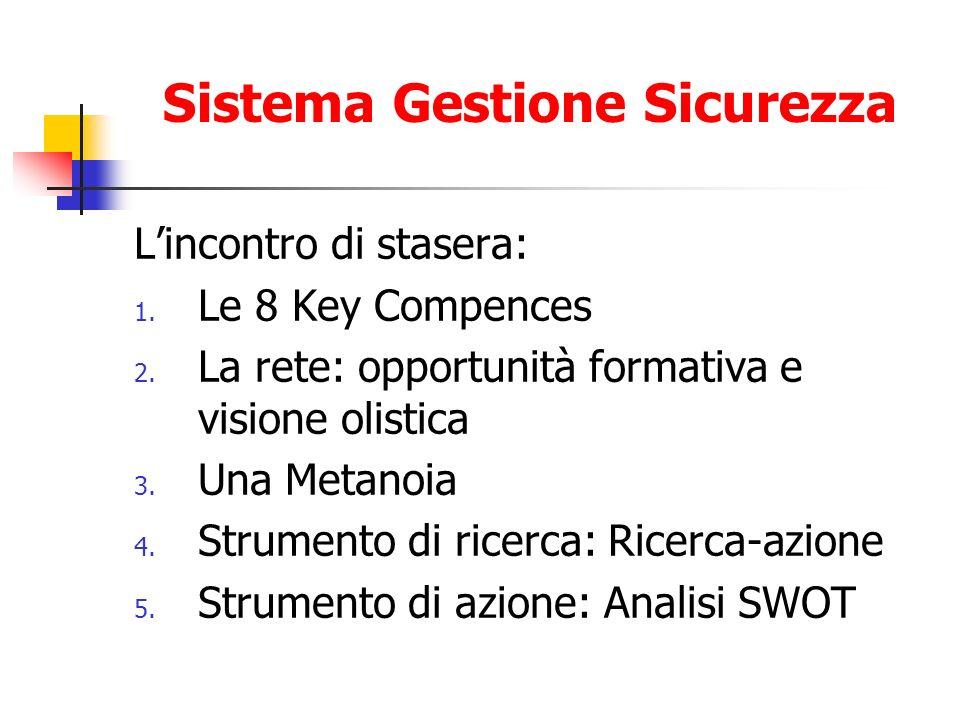 Sistema Gestione Sicurezza Lincontro di stasera: 1. Le 8 Key Compences 2. La rete: opportunità formativa e visione olistica 3. Una Metanoia 4. Strumen