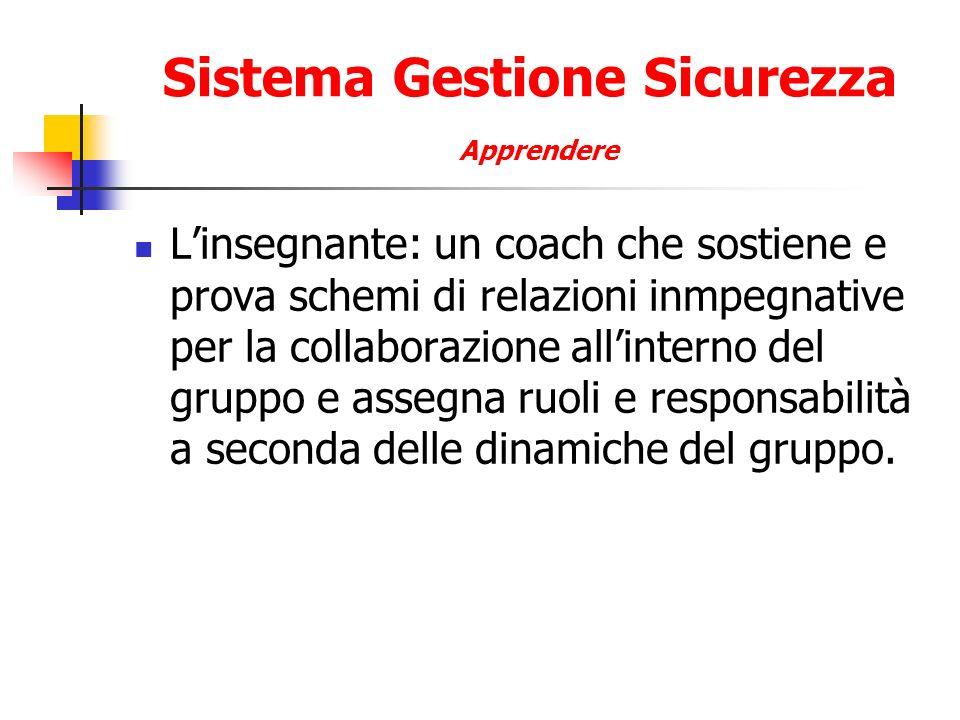 Sistema Gestione Sicurezza Apprendere Linsegnante: un coach che sostiene e prova schemi di relazioni inmpegnative per la collaborazione allinterno del gruppo e assegna ruoli e responsabilità a seconda delle dinamiche del gruppo.