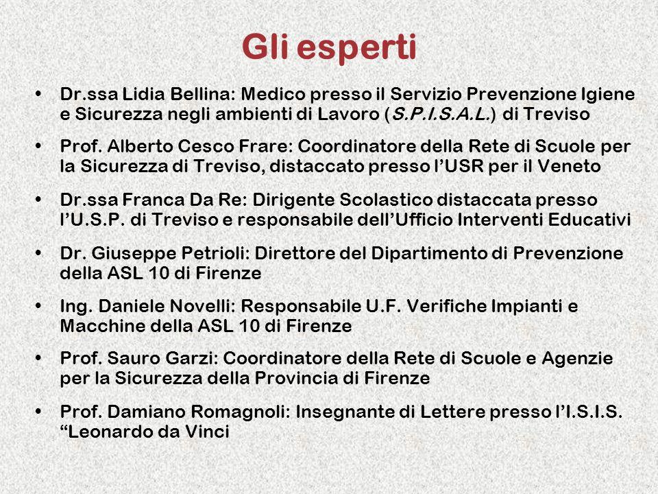 Gli esperti Dr.ssa Lidia Bellina: Medico presso il Servizio Prevenzione Igiene e Sicurezza negli ambienti di Lavoro (S.P.I.S.A.L.) di Treviso Prof. Al