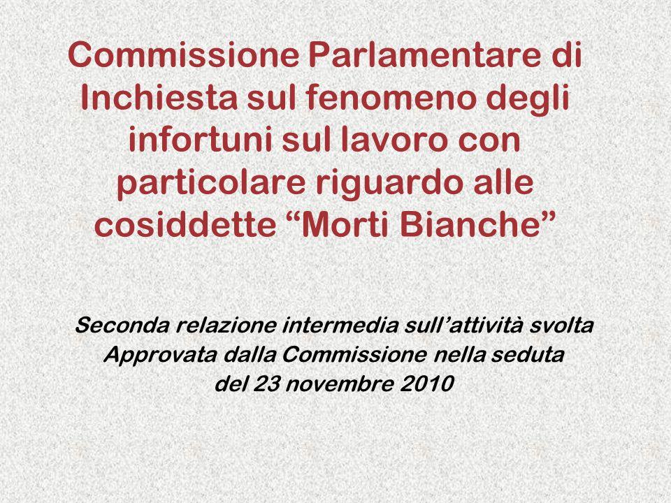 Commissione Parlamentare di Inchiesta sul fenomeno degli infortuni sul lavoro con particolare riguardo alle cosiddette Morti Bianche Seconda relazione