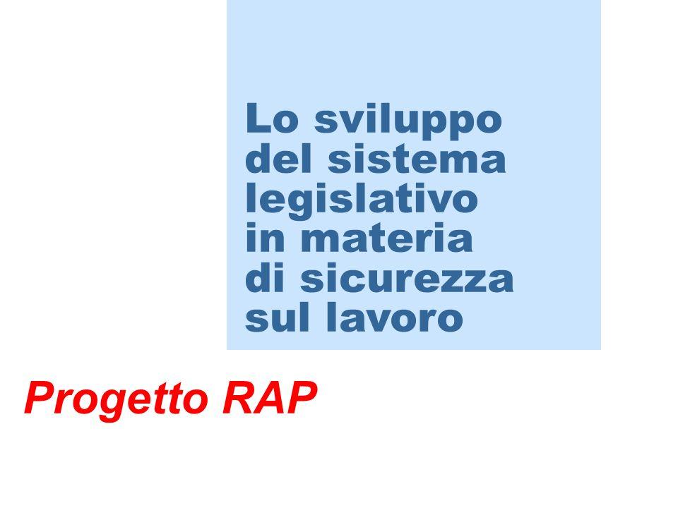 Progetto RAP Lo sviluppo del sistema legislativo in materia di sicurezza sul lavoro