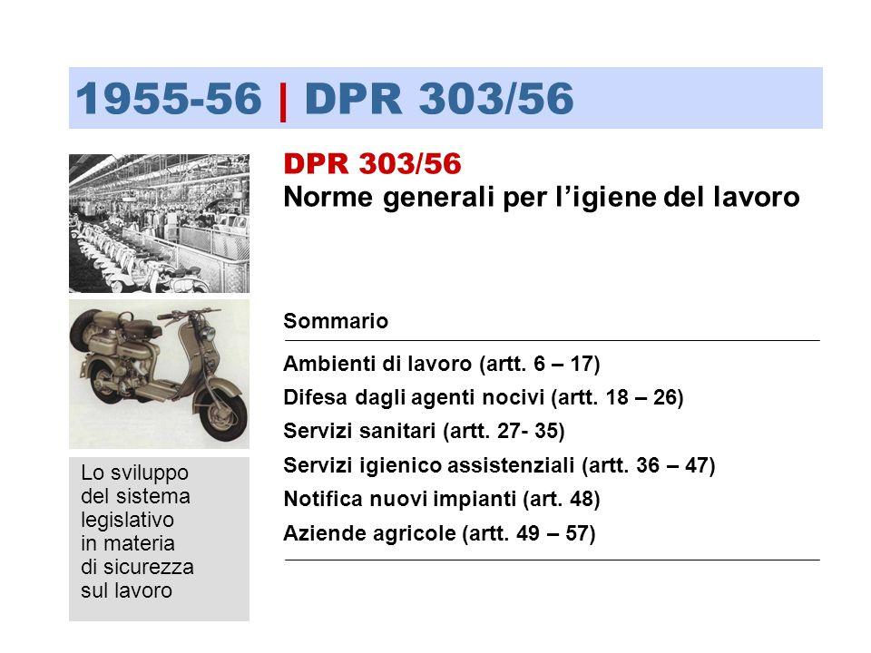 Lo sviluppo del sistema legislativo in materia di sicurezza sul lavoro Sommario Ambienti di lavoro (artt. 6 – 17) Difesa dagli agenti nocivi (artt. 18