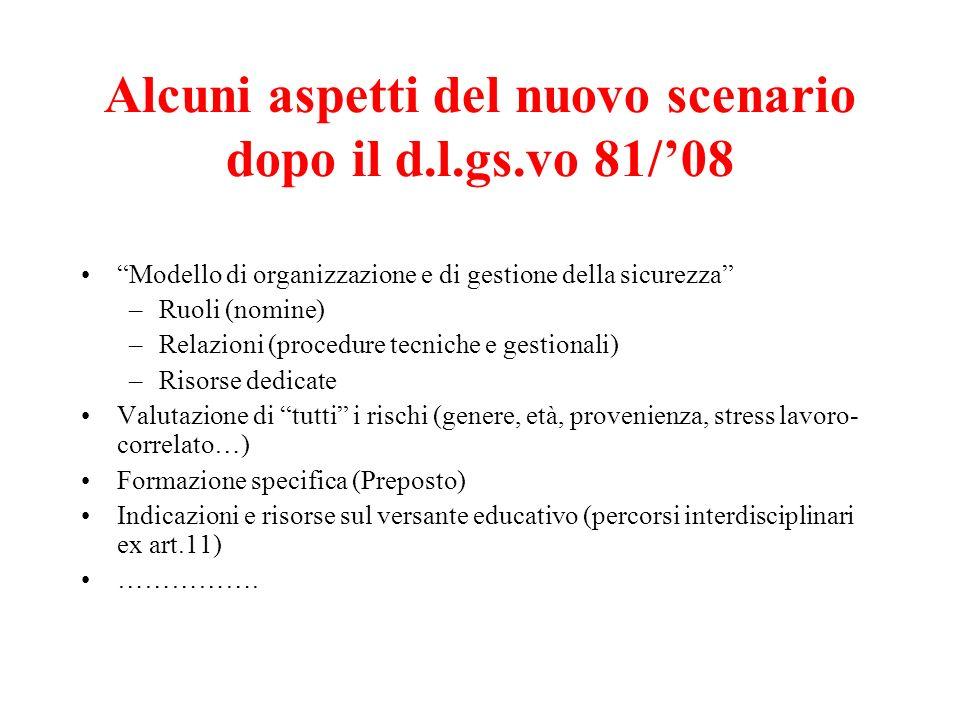 Alcuni aspetti del nuovo scenario dopo il d.l.gs.vo 81/08 Modello di organizzazione e di gestione della sicurezza –Ruoli (nomine) –Relazioni (procedur