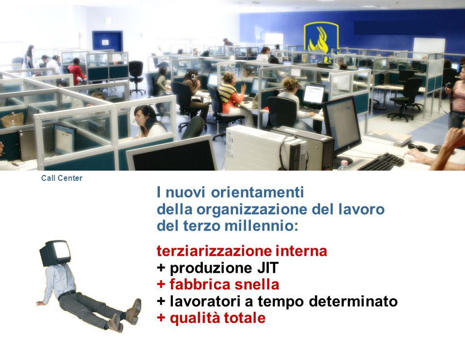 I nuovi orientamenti della organizzazione del lavoro del terzo millennio: terziarizzazione interna + produzione JIT + fabbrica snella + lavoratori a t