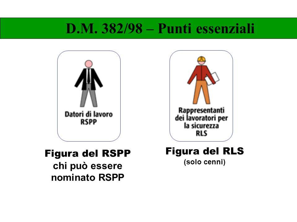 Figura del RLS (solo cenni) D.M. 382/98 – Punti essenziali Figura del RSPP chi può essere nominato RSPP