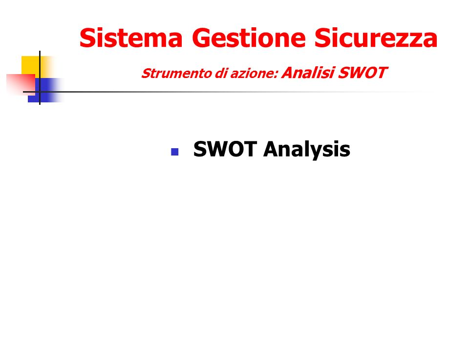 Sistema Gestione Sicurezza Strumento di azione: Analisi SWOT SWOT Analysis